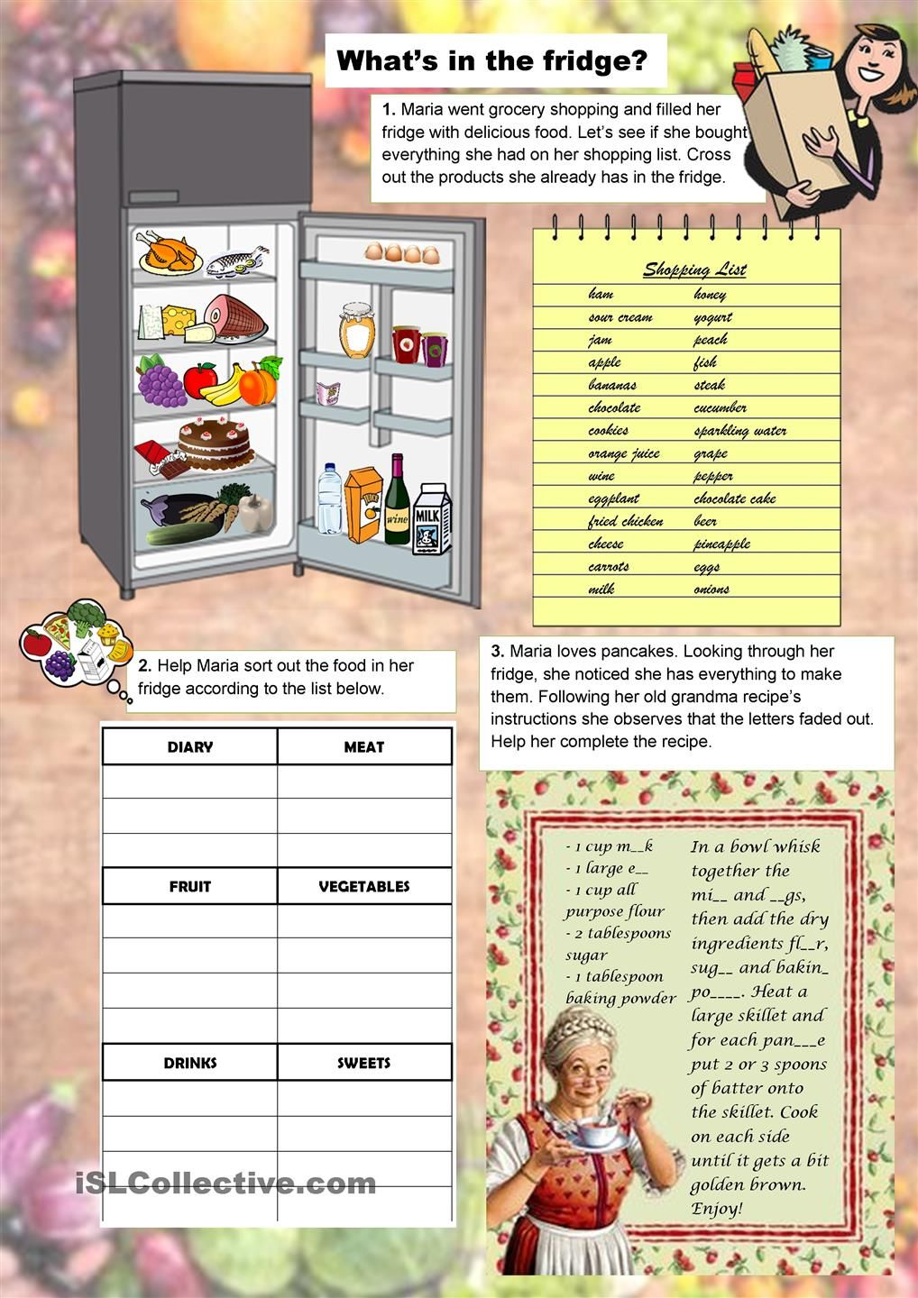 Whats in the fridge english pinterest english worksheets whats in the fridge worksheet free esl printable worksheets made by teachers forumfinder Choice Image