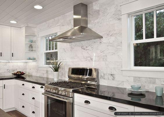 Black Granite Countertops - a #MarbleBacksplash can be a perfect