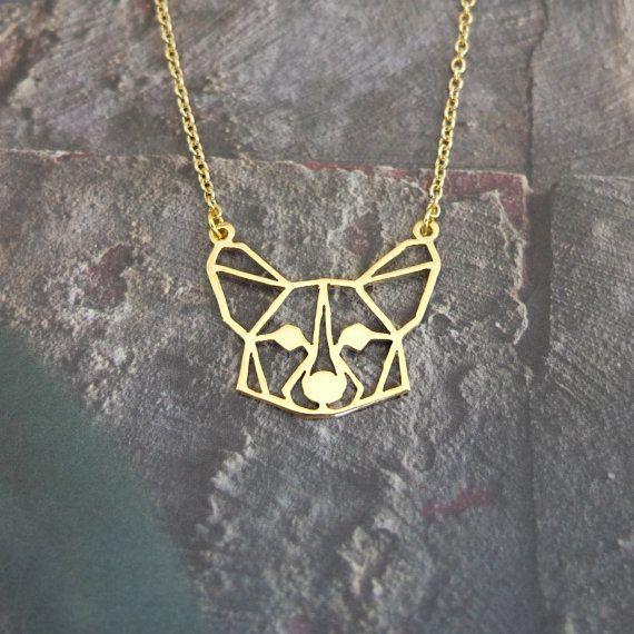 Corgi Origami Inspired Puppy Necklace Silver The Short Dog Corgi Dog Necklace