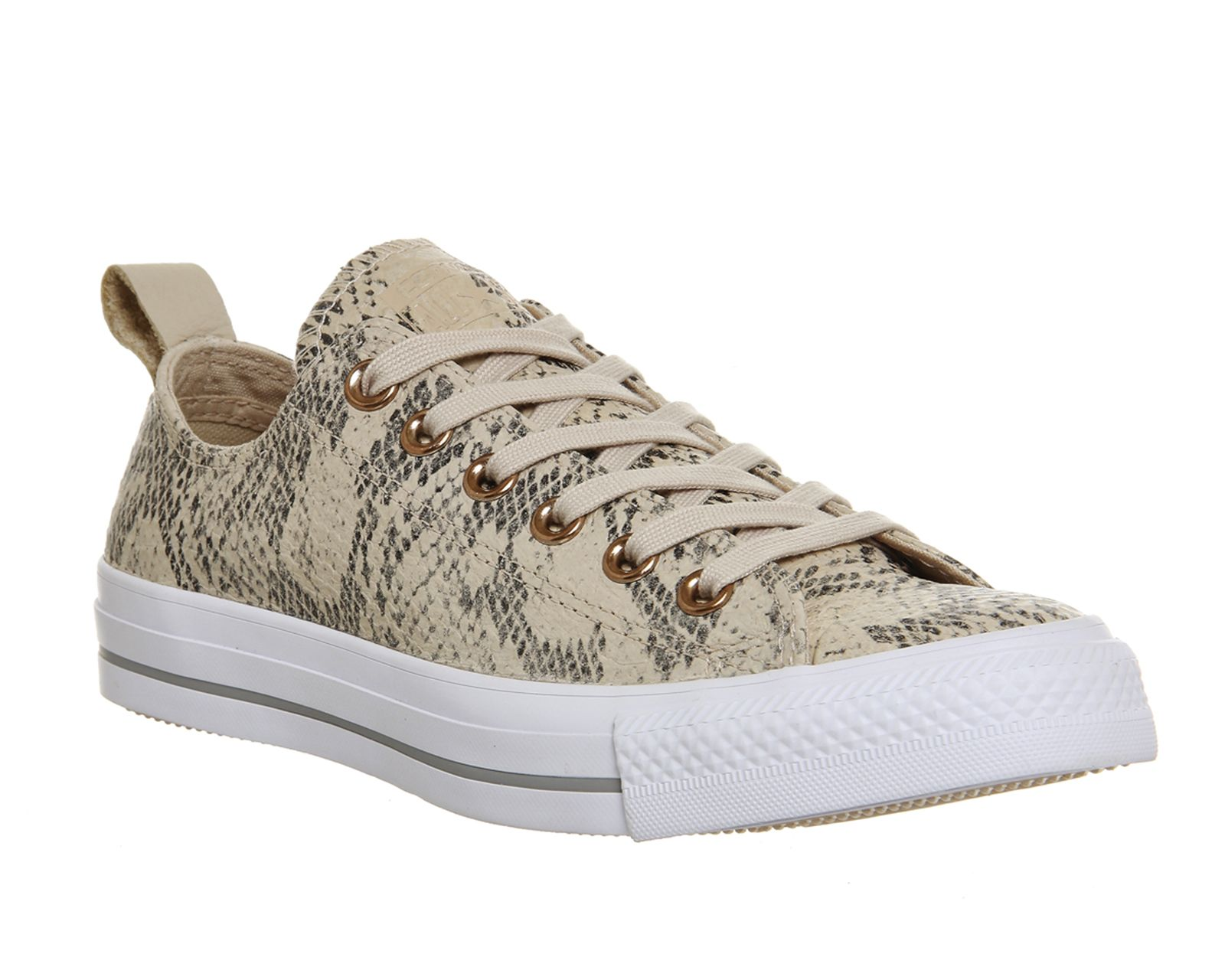 Converse Ctas Lined Loop Ox Ivory Snake Leather Exclusive Hers Trainers
