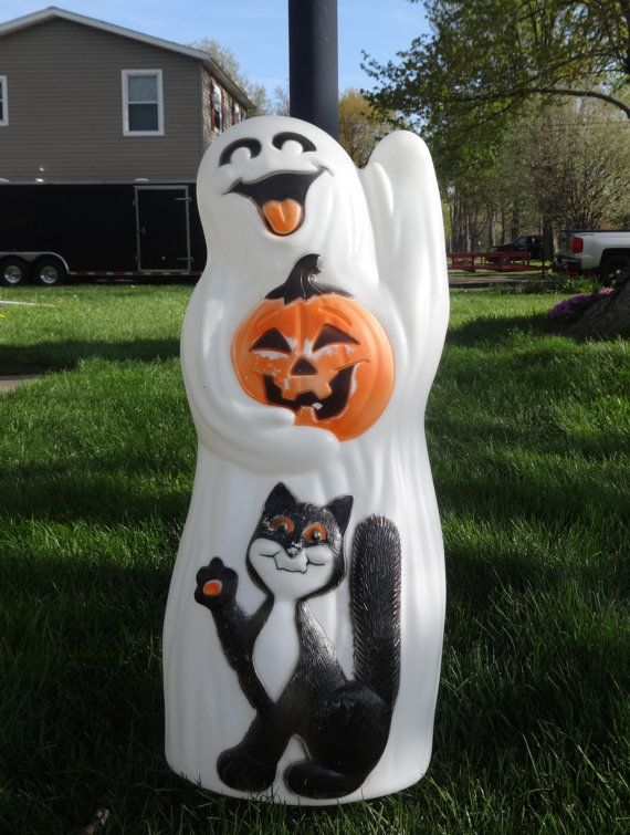 Large Vintage Halloween Ghost  Cat Blow Mold Pinterest Ghost - large outdoor halloween decorations