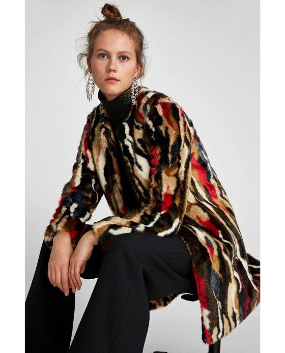 Cumpără mai tarziu preț mai mic cu Image 4 de MANTEAU EFFET FAUSSE FOURRURE MULTICOLORE de Zara ...