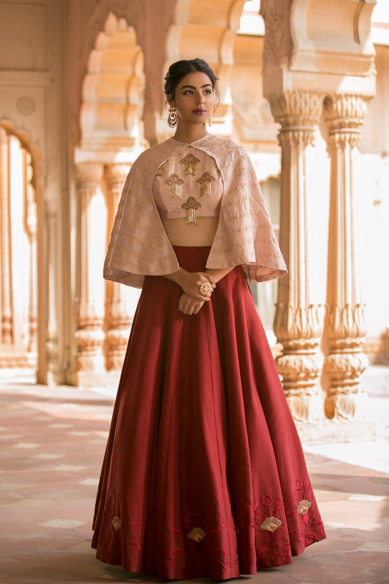 Red and dusty pink embroidered lehenga set with cape shop now at