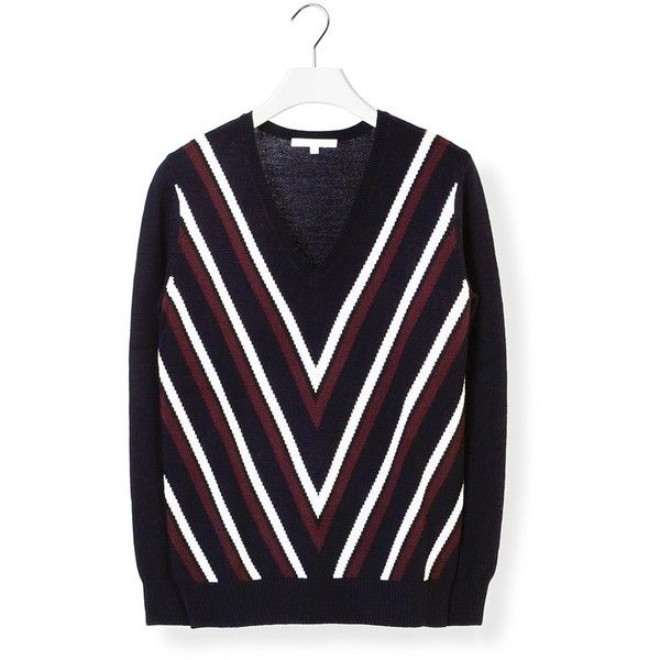 Carven Striped Knitted Sweater (6.396.975 IDR) ❤ liked on Polyvore featuring tops, sweaters, long sleeve sweaters, merino wool sweater, carven sweater, colorful sweaters and striped v neck sweater