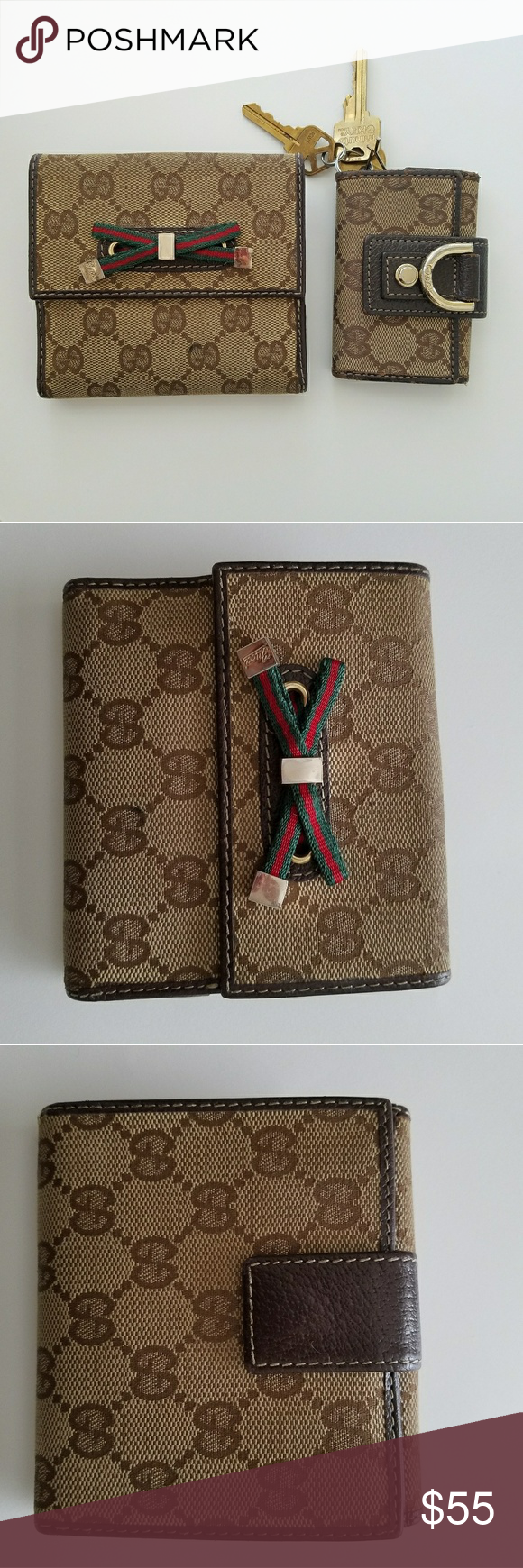Gucci Wallet set with key wallet A set of vintage Gucci GG