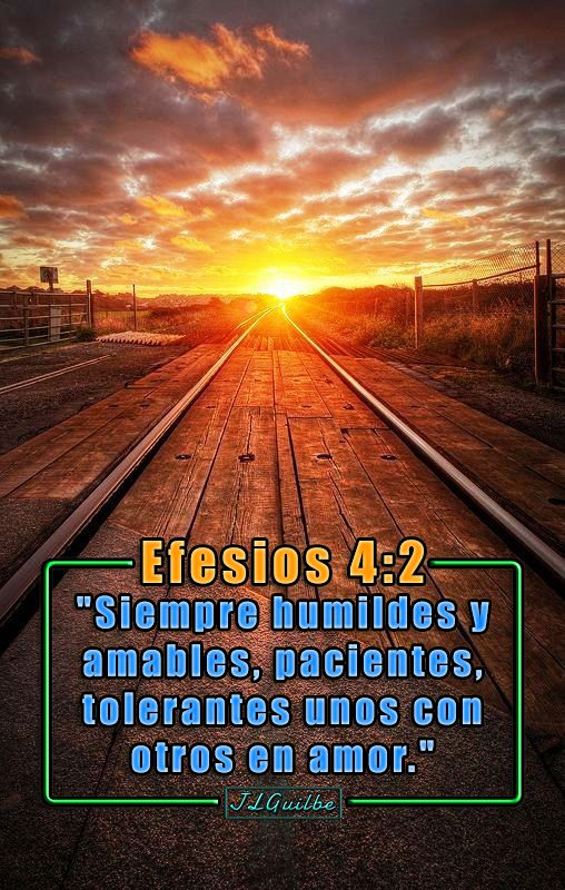 """- Efesios 4:2 - """"Siempre humildes y amables, pacientes, tolerantes unos con otros en amor."""""""