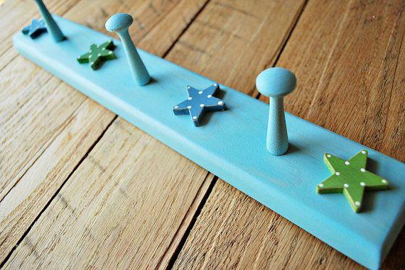 DIY children's coat hook & rack  Etsy listing at https://www.etsy.com/listing/77818420/peg-rack-with-stars-childrens-room-decor