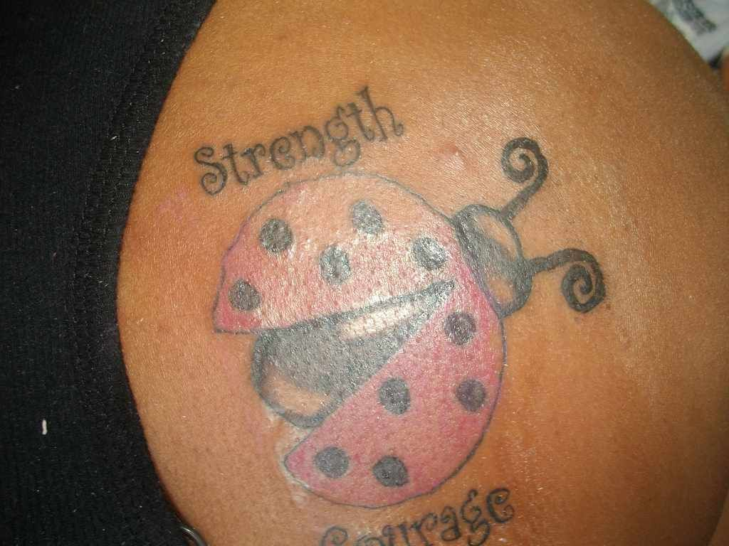 Strength courage ladybug tattoo for girls courage tattoos for