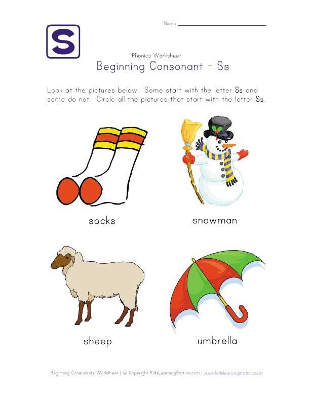 letter s consonant worksheet | Phonics-Early Reading | Pinterest