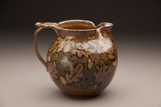 Clay Art Center Georgia Tenore Leaf Pitcher Malcolm S Shino On Stoneware With Wax And Sprayed Glaze Clay Art Pottery Pots Pottery Pitcher