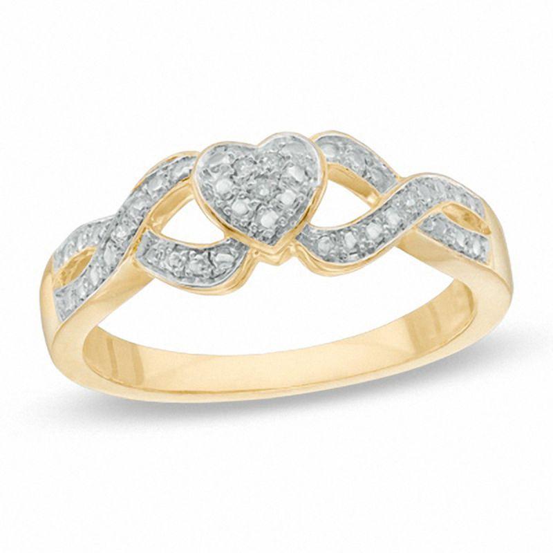 Diamond Accent Heart Split Shank Promise Ring In Sterling