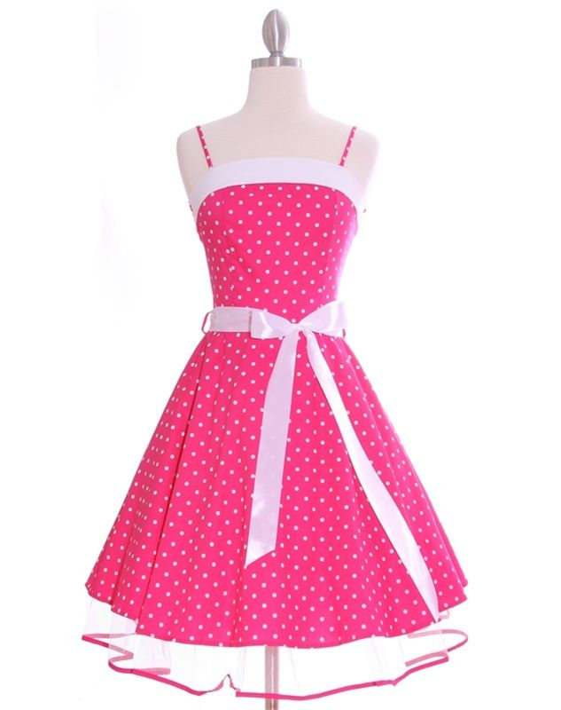 Fushia Pink Polka Dot 50's Swing Petticoat Dress