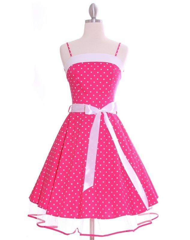Fushia Pink Polka Dot 50's Swing Petticoat Dress