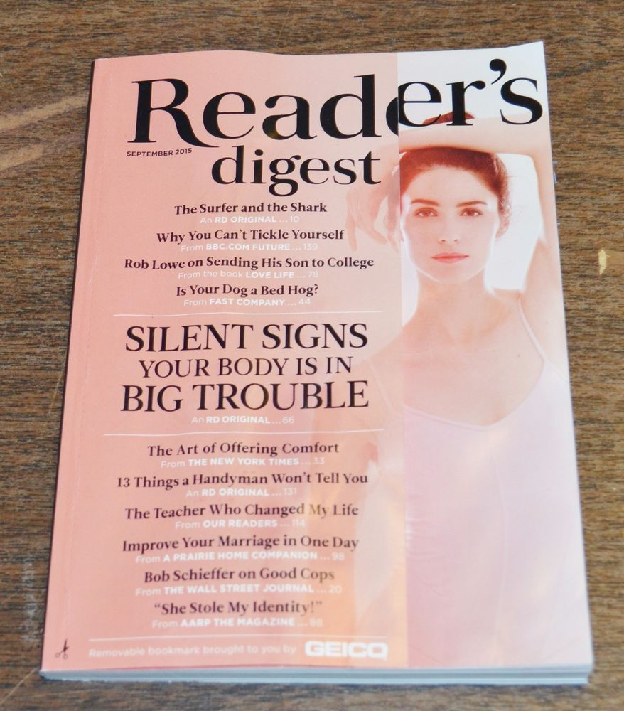 READER'S DIGEST Magazine September 2015 Silent Signs Your Body Is In Big Trouble
