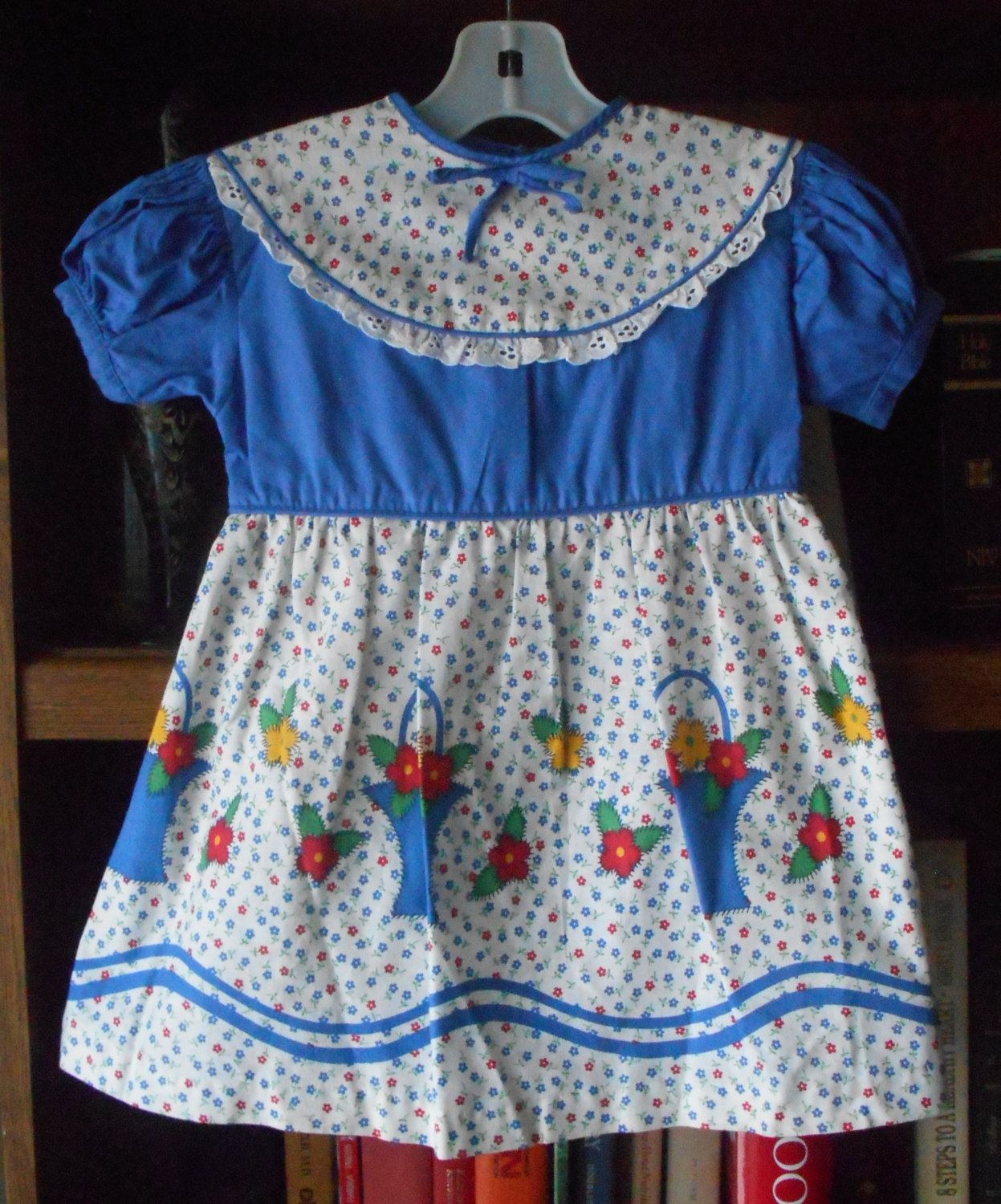 1950's Little Girls' Flower Basket Border Print Dress ~ Blue Red White ~ Size 5 ~ Deadstock NEW w/o Tags by VMaleDetroitVintage on Etsy