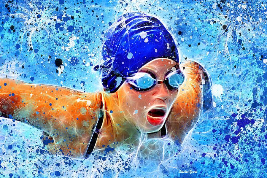 Swimmer Digital Art Swimmer by Stephen Younts Swimming