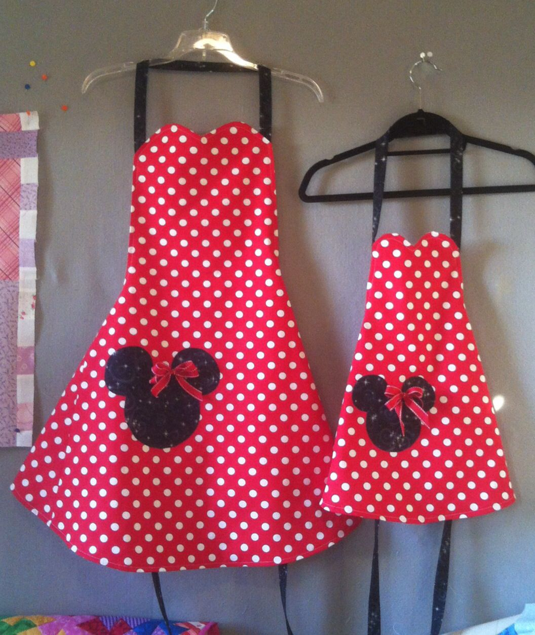 Mother Daughter Apron Set Minnie Mouse Apron Set Matching Aprons, Mother Son Apron Set