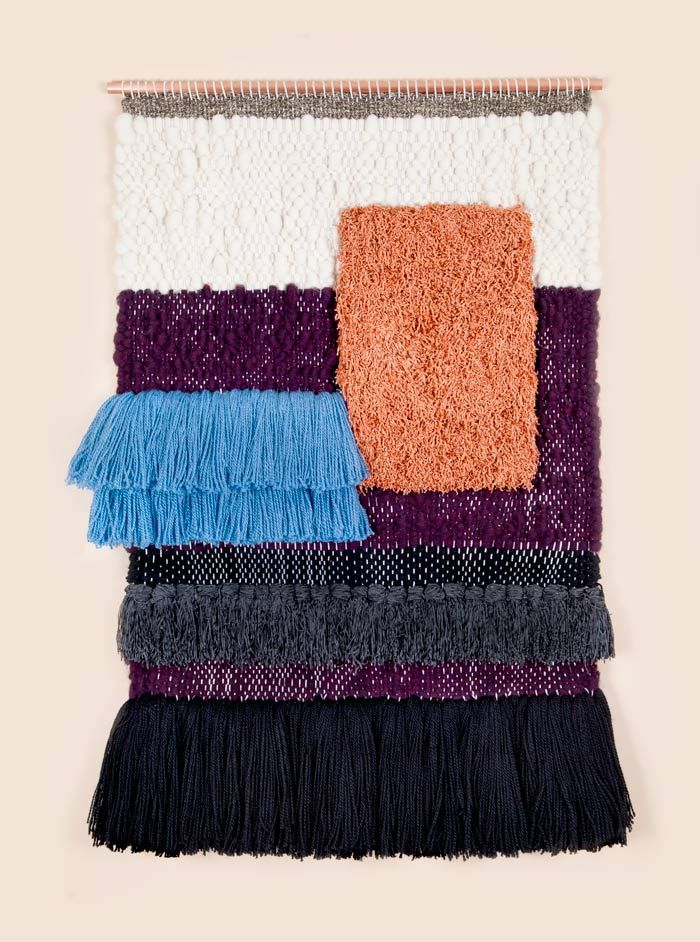 Brook & Lyn Art/Objects  ORANGE RECTANGLE AND BLUE RYA, handwoven by Mimi Jung in Los Angeles.
