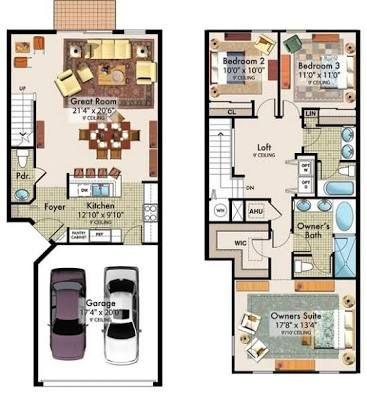 planos de casas de 90m2 de 2 pisos - Buscar con Google   Screenshots ...