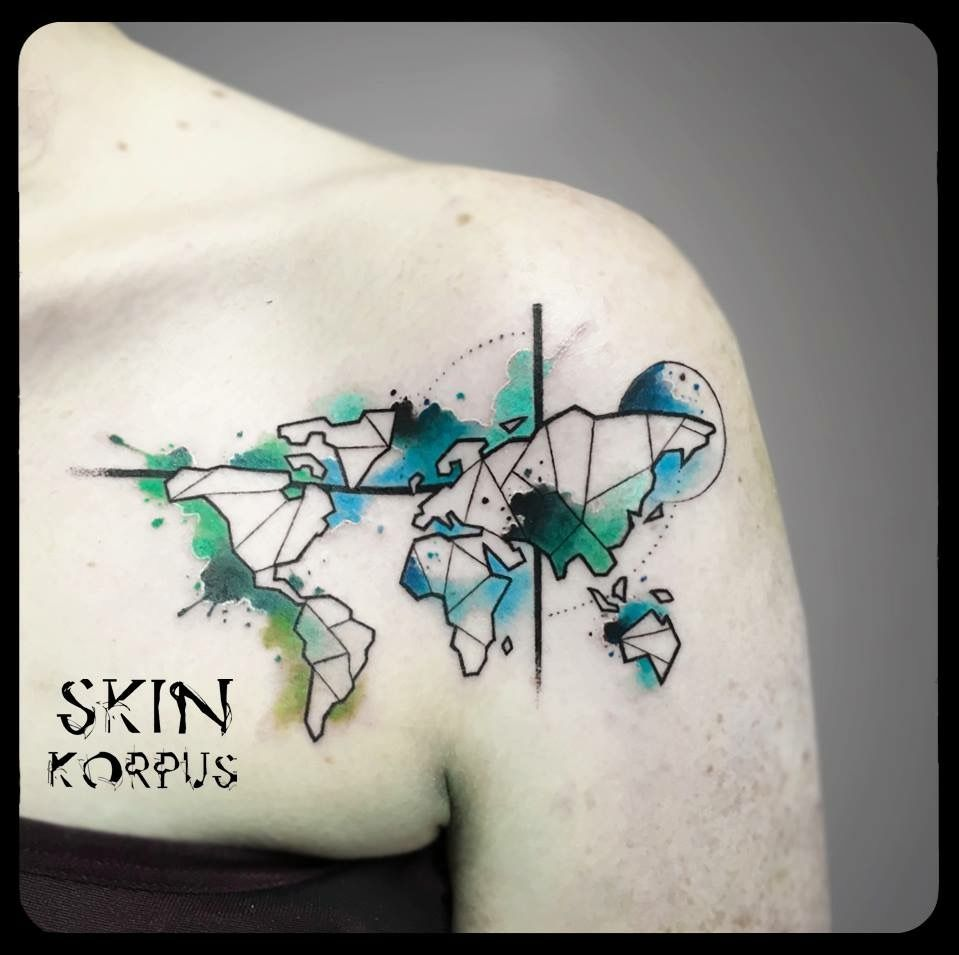 Geometric watercolor world map tattoos pinterest tattoo geometric watercolor world map gumiabroncs