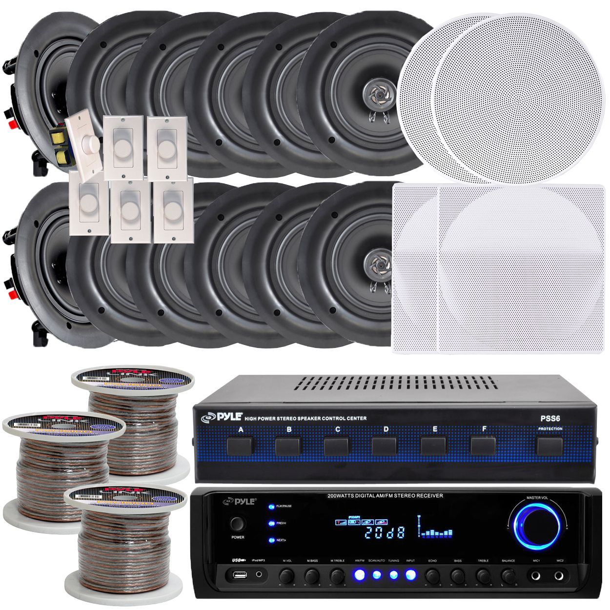 Pyle Kthsp370 6 Room In Wall Ceiling 525 Inch Speaker System With Speakers Wiring Receiver Volume Controls Selector 300 Foot Wire White