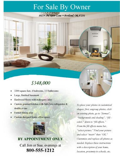 Modern Flyer For Sale By Owner Free Flyer Templates Microsoft - Free real estate for sale flyers templates