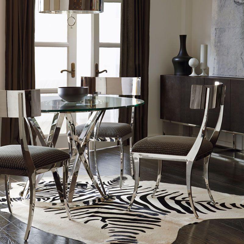 Bernhardt Interiors   Gustav Round Glass Top Dining Table With Polished  Metal Base   Belfort Furniture   Kitchen Table Washington DC, Northe.