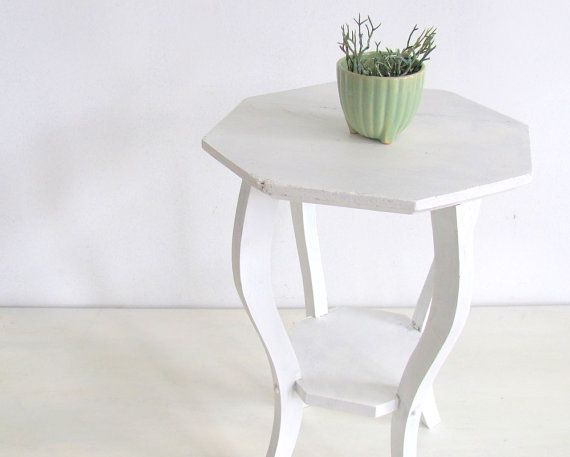The kind of something for tea and book holding to go next to m'chair. Vintage Wood Plant Stand Table White Country by NifticVintage, $38.00