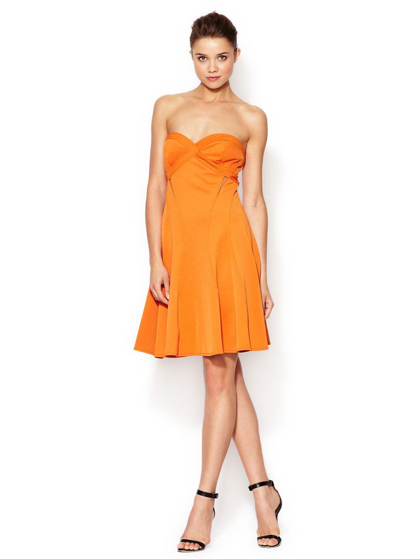 Strapless Mesh Cut Out Flared Dress by Z Spoke by Zac Posen