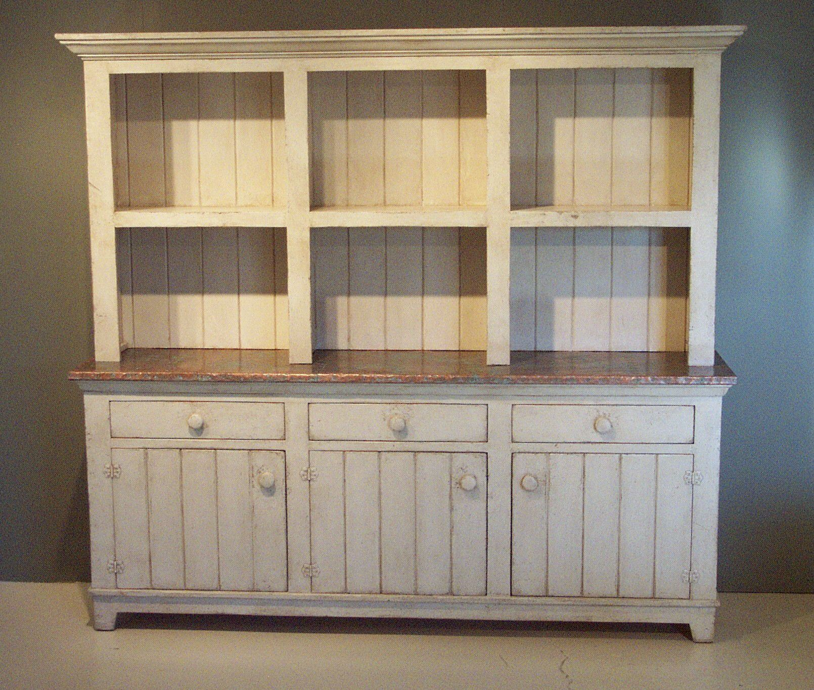 copper top hutch with three drawers hutches pinterest