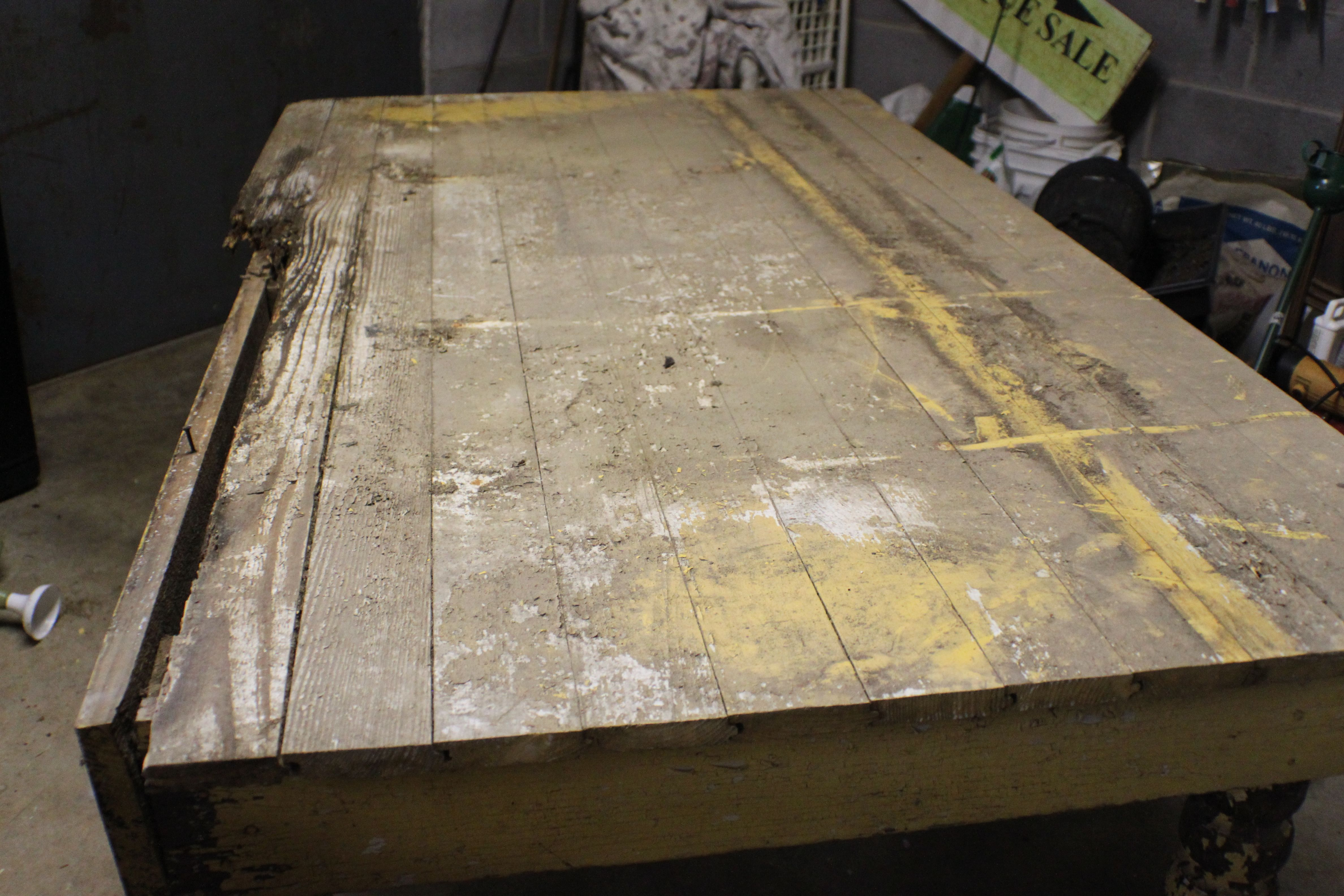 100 year old table---before