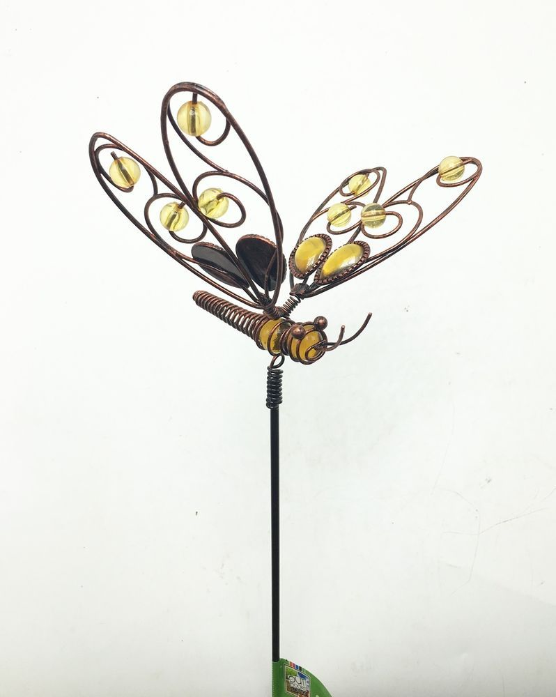 Dragonfly With Yellow Glass Metal Garden Stake Yard Art Outdoor New