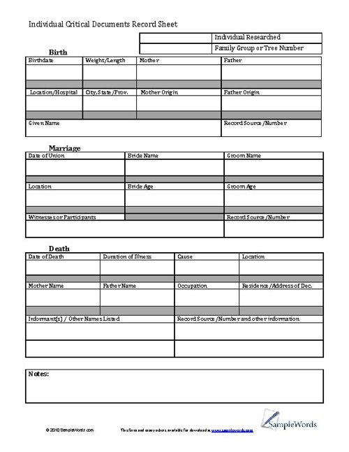 Template For Personal Information Minimalistic Multipage Resume – Information Form Template