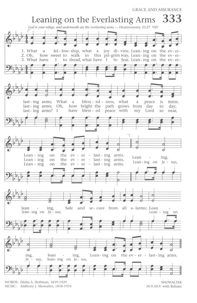 Leaning on the Everlasting Arms Baptist Hymnal 1991 333  What a