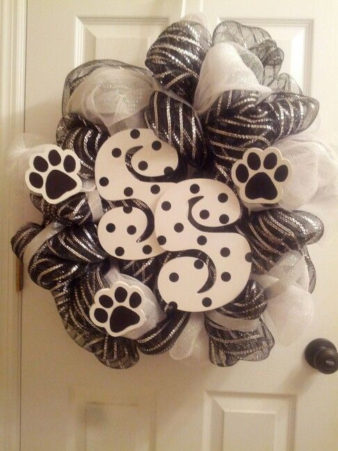black amp white panther paw mesh wreath my deco mesh