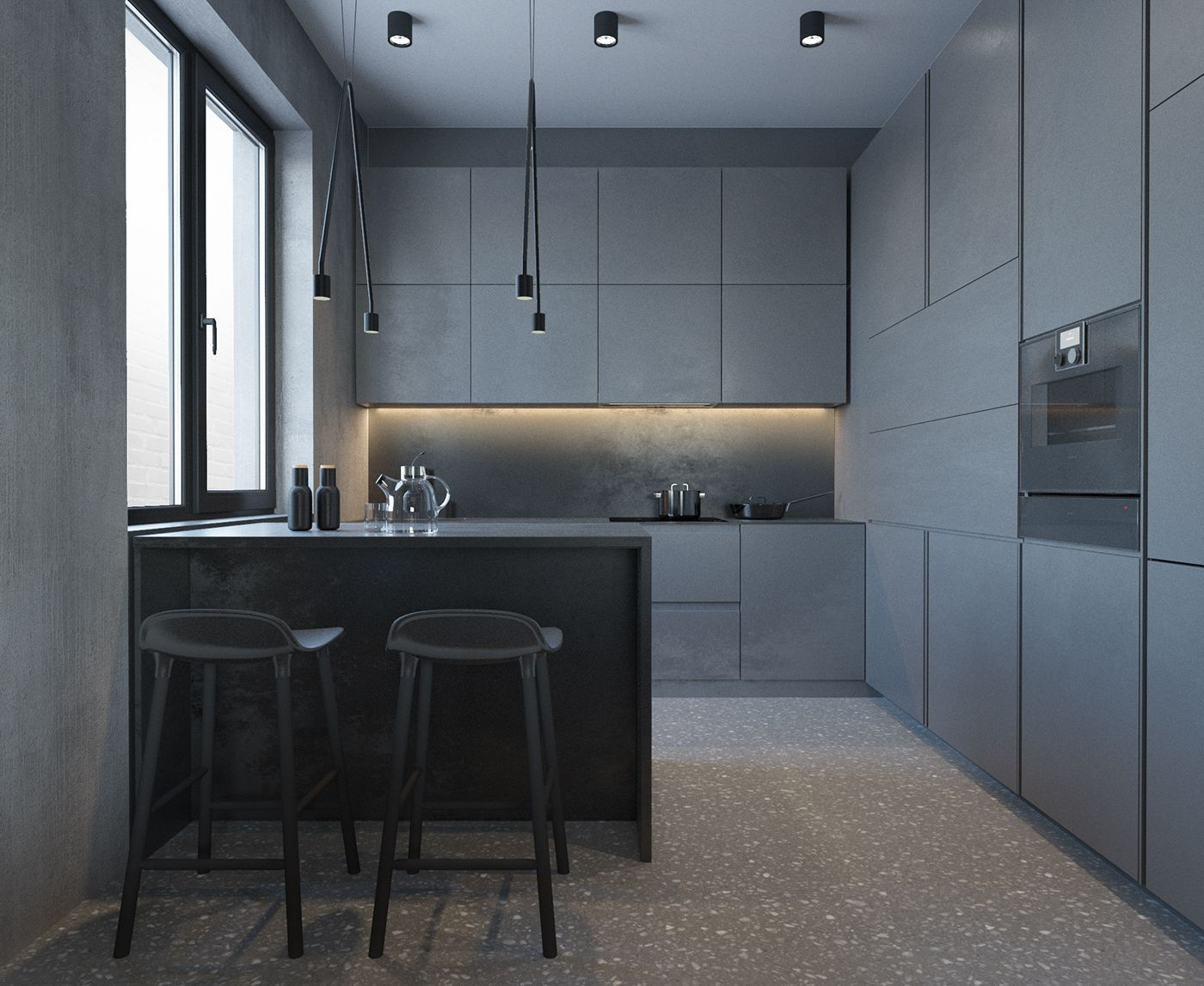 dark minimalism on behance intrieur moderne de cuisine intrieurs bleus meuble cuisine future