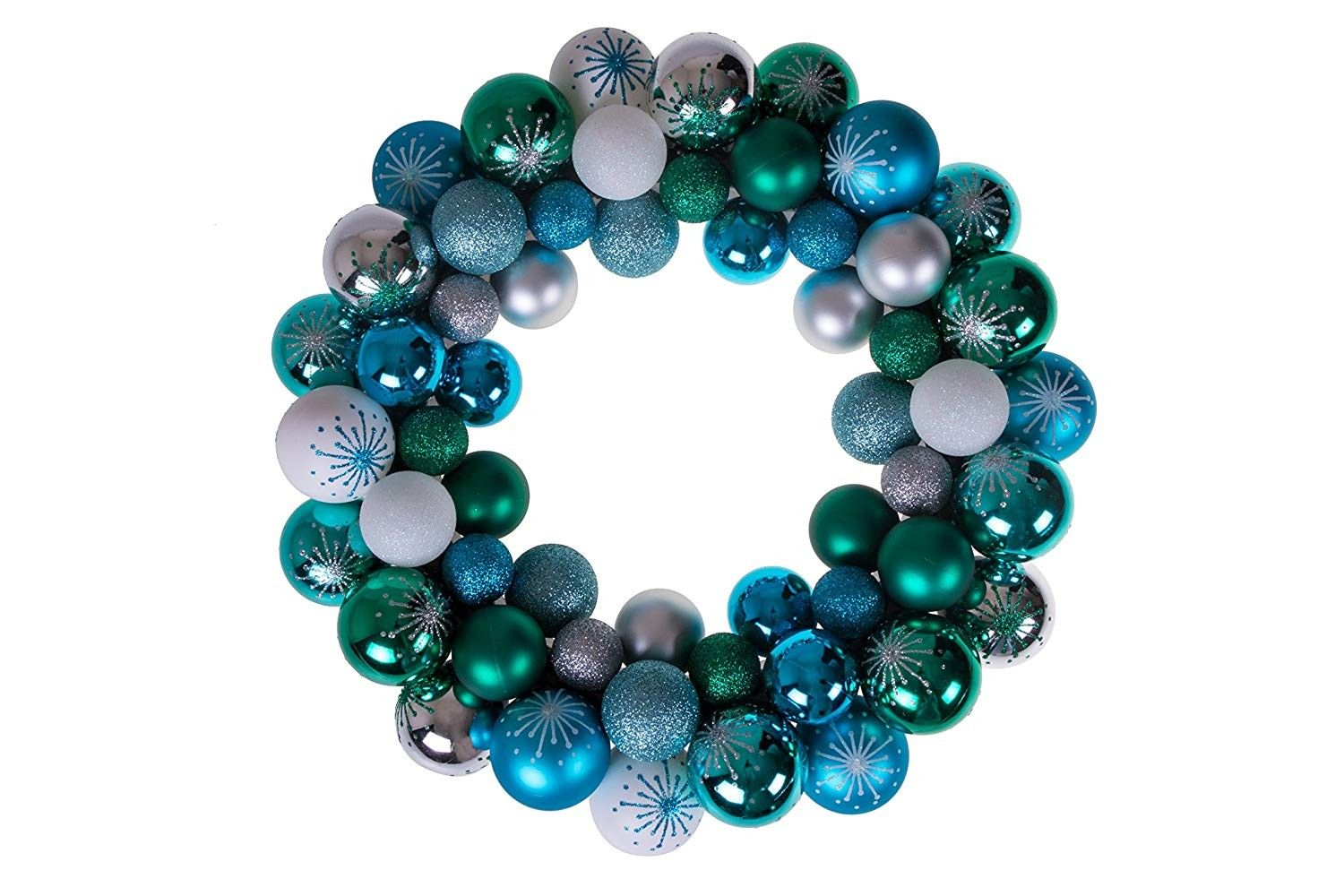 Christmas Ornament Wreath Blue Green White & Silver