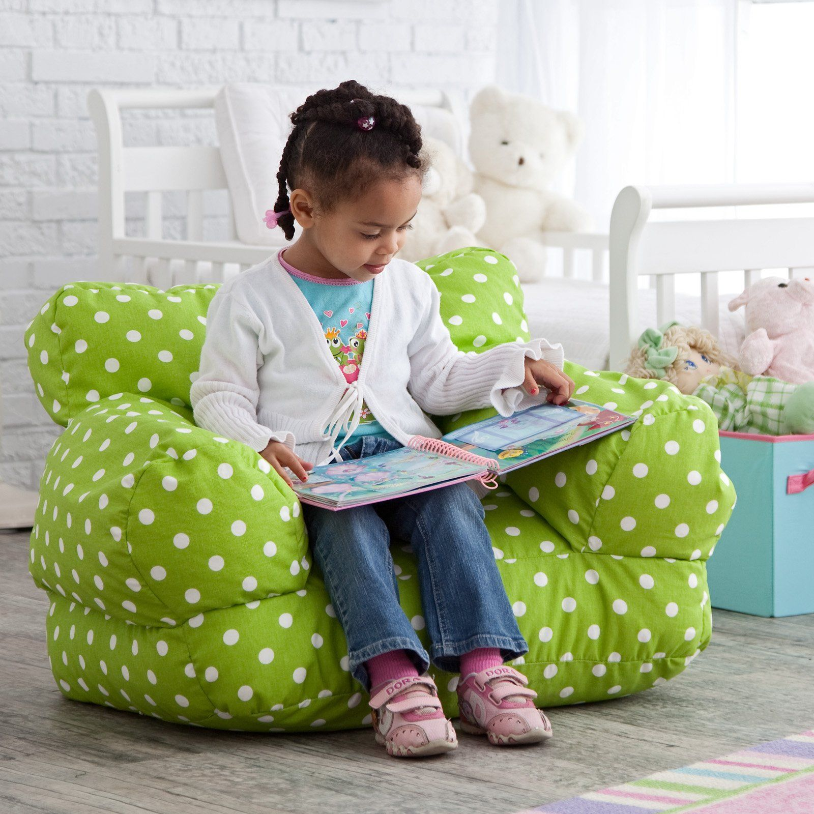 Delightful Twill Polka Dot Mi Kids Bean Bag Chair. Wonder If I Can Make This!
