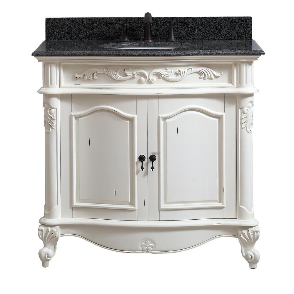 Avanity Provence 37 In W X 22 In D X 35 In H Bath Vanity In Antique White With Granite Vanity Top In Impala Black With Basin Provnce Vs37 Aw Black Granite Countertops Granite