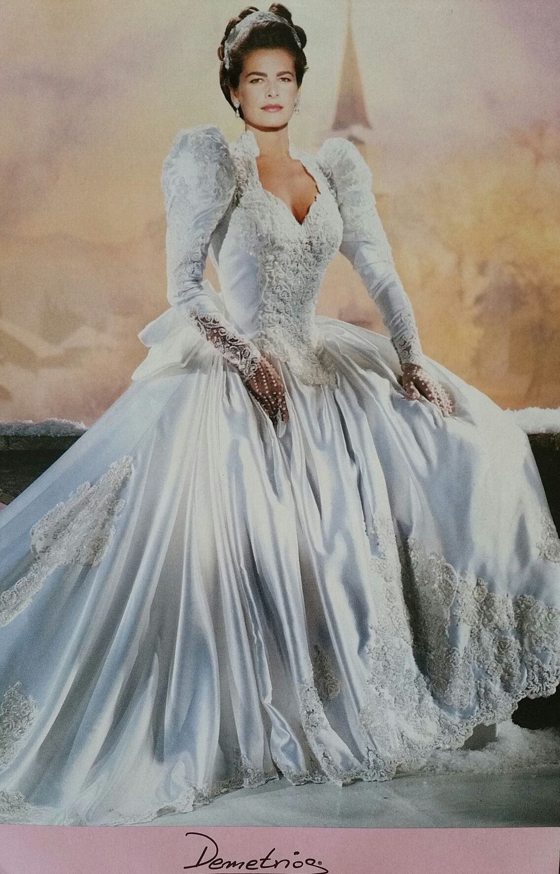 90s wedding dress, big shoulders and sleeves became a popular ...