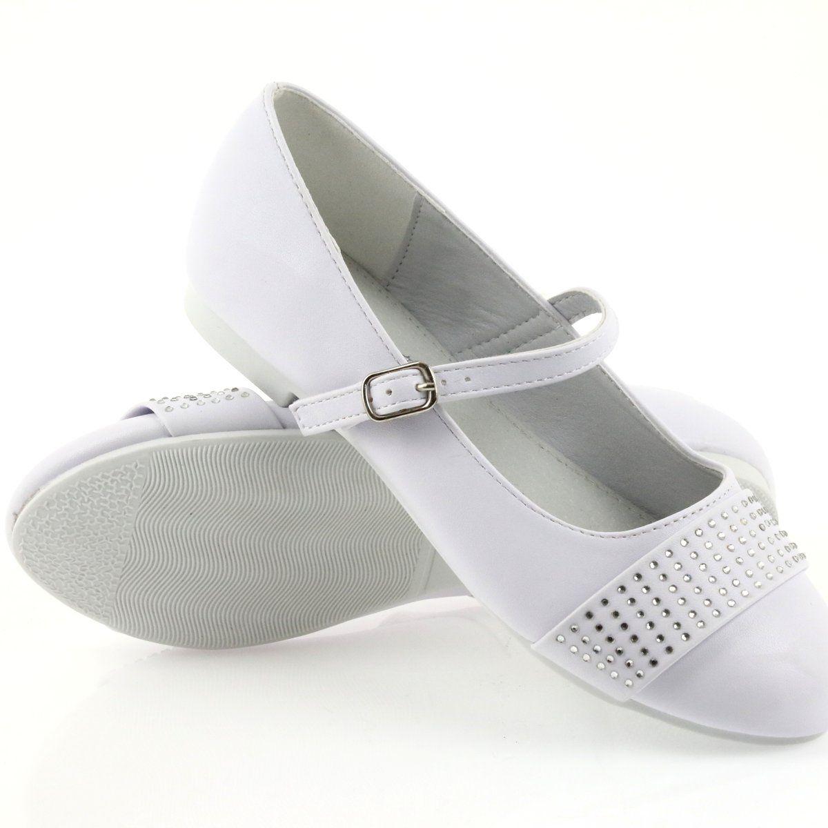 Czolenka Buty Dzieciece Balerinki Komunijne Cyrkonie American Club 11 19 Biale Childrens Ballet Shoes Childrens Shoes Pumps