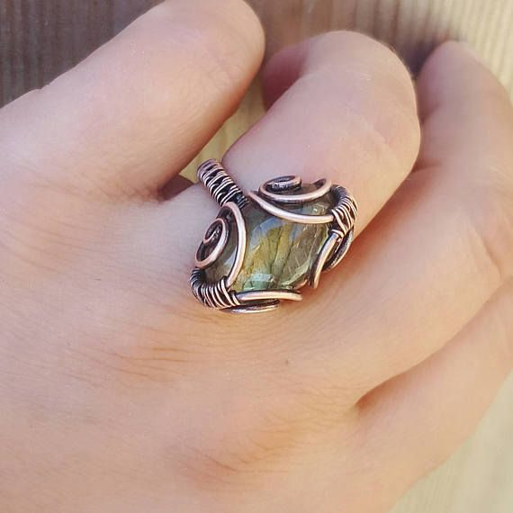 Wire labradorite ring wire wrapped ring labradorite ring copper wire ...