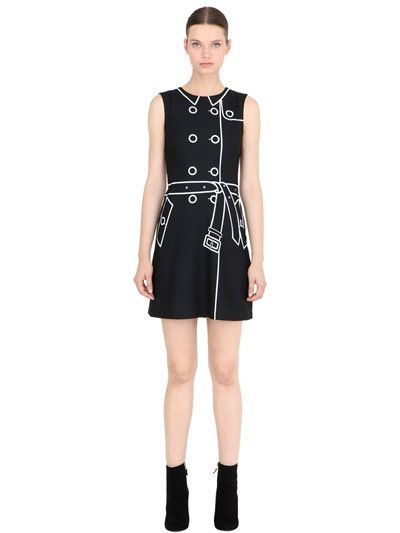 Black dress with bow print MOSCHINO BOUTIQUE pJzykgO8B