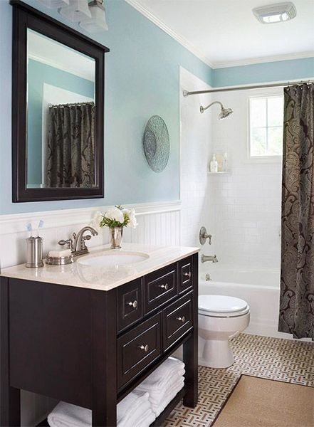 small blue bathroom ideas blue and small bathroom design with modern look the - Bathroom Ideas Blue And Brown