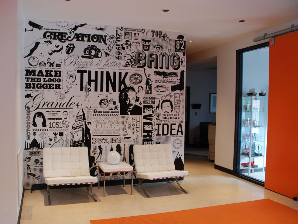 Big communications wall graphic doug van wie for Office wall interior