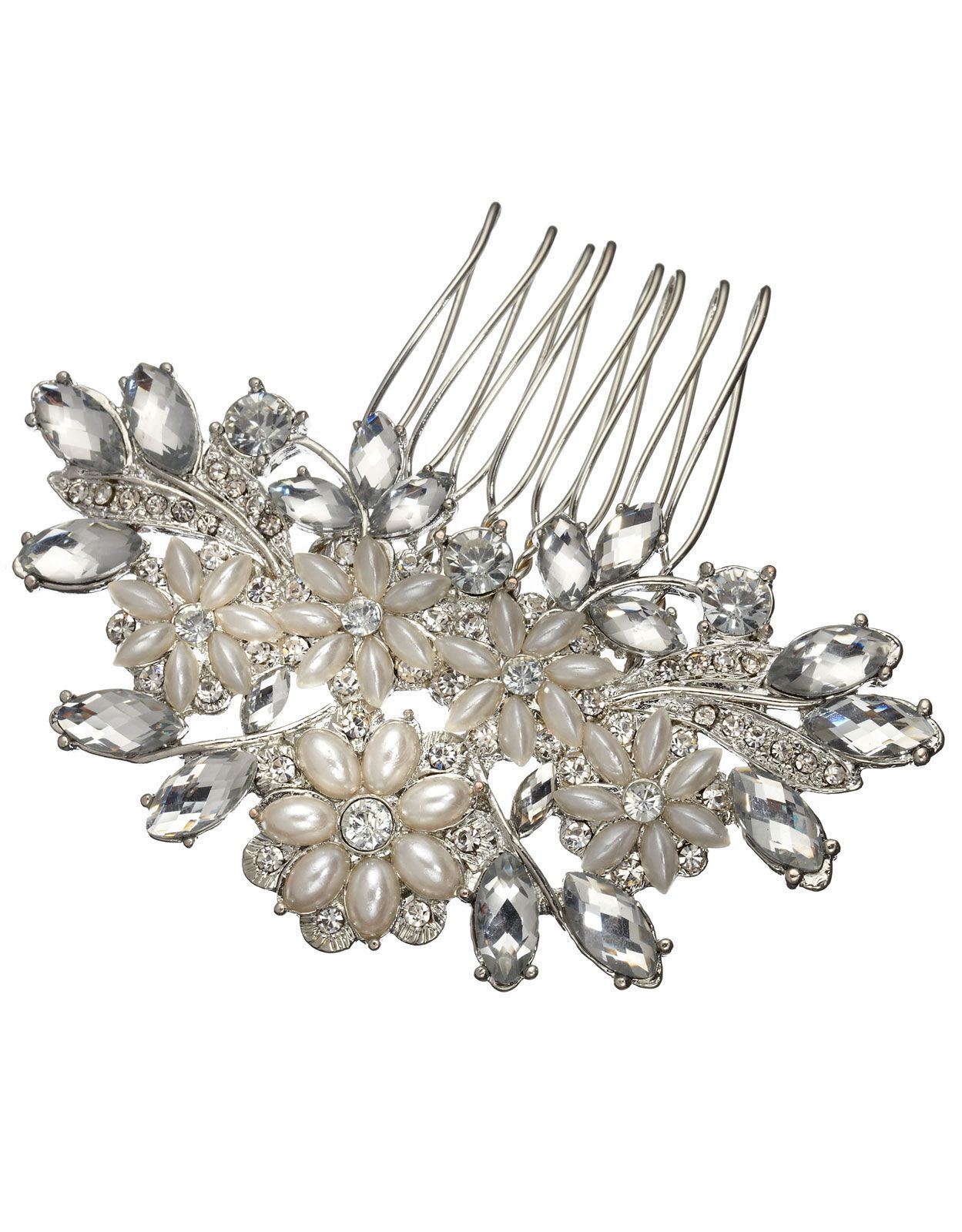 verity crystal and pearl comb | clear | accessorize