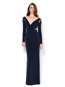 Z Spoke Studded Jersey Cut Out Gown