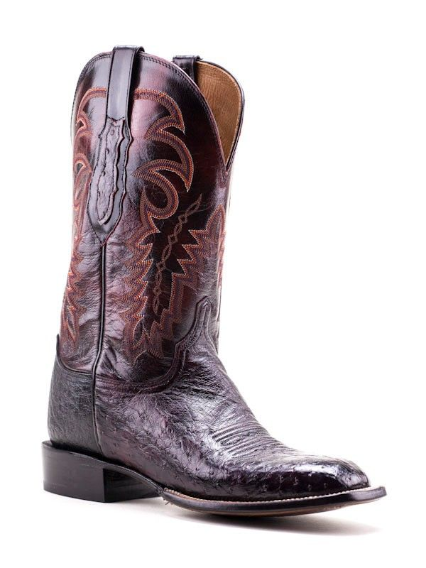 e8bb86f33fc Mens Lucchese Black Cherry Smooth Ostrich Square-Toe Boots Cy7753 ...