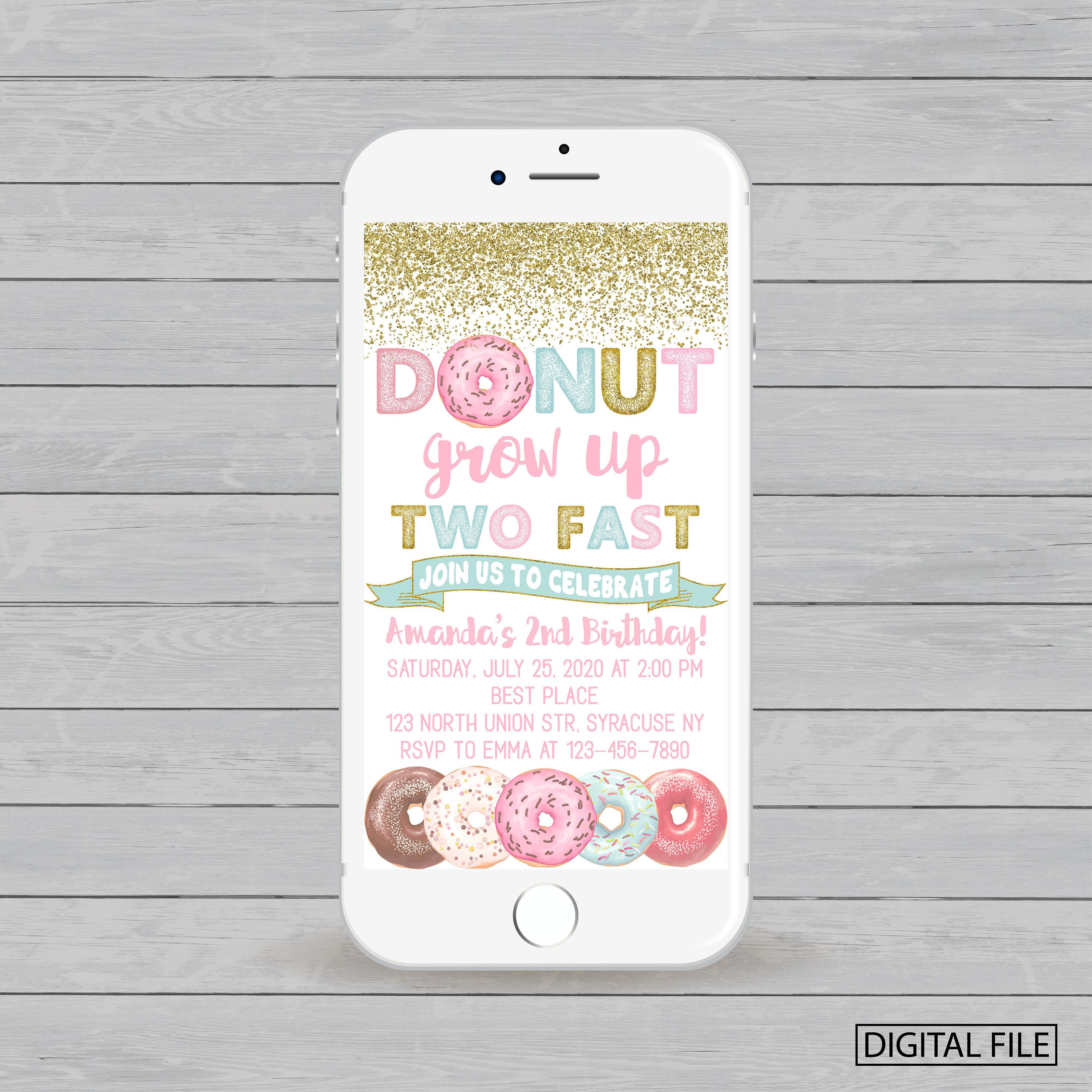 Electronic Donut Grow Up Two Fast Birthday Invitation Party For Iphone Smartphone DIGITAL FILE