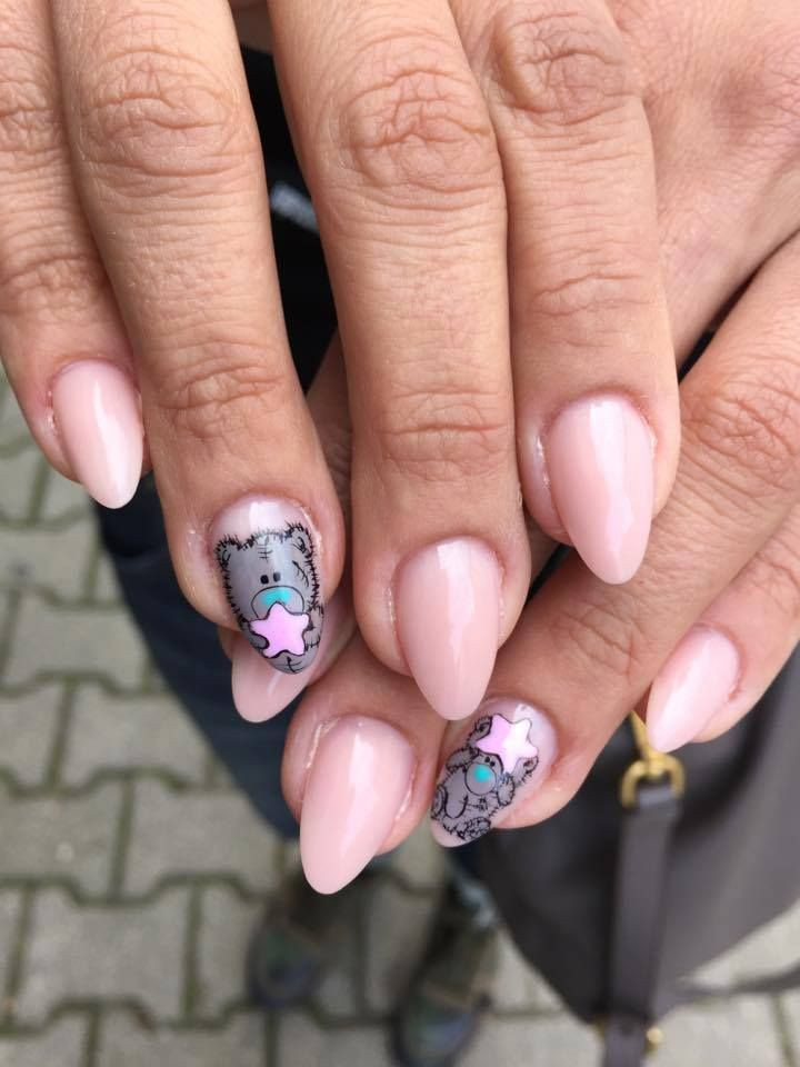 by Monika Szurmiej Tutaj Indigo Educator Gryfów Śląski :) Find more inspiration at www.indigo-nails.com #nailart #nails #indigo #pink #teddy bear #little